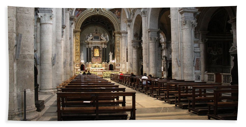Rome Hand Towel featuring the photograph Inside Beautiful Church In Rome by Munir Alawi