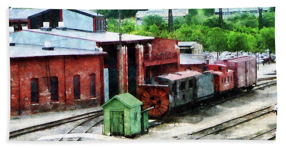 Brick Buildings Bath Sheet featuring the photograph Inside The Train Yard by Susan Savad