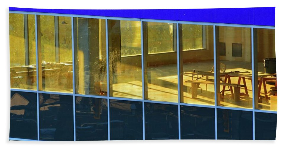 Abstract Hand Towel featuring the photograph Inside The Windows by Lyle Crump