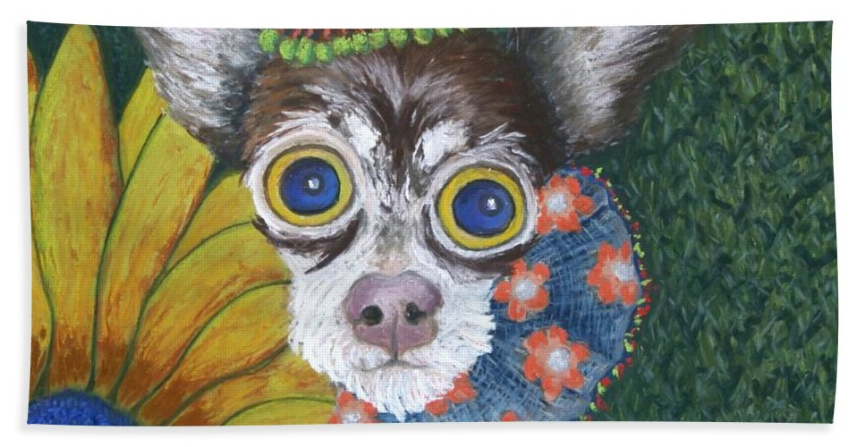 Chihuahua Bath Towel featuring the painting Inside Van Gogh's Garden Sits Sunflower Sally by Minaz Jantz