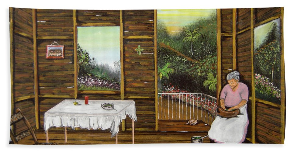 Puerto Rico Wooden Home Bath Sheet featuring the painting Inside Wooden Home by Gloria E Barreto-Rodriguez