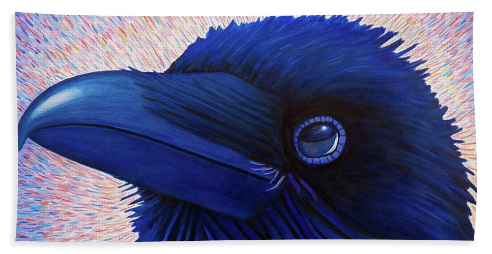 Raven Hand Towel featuring the painting Inspiration by Brian Commerford