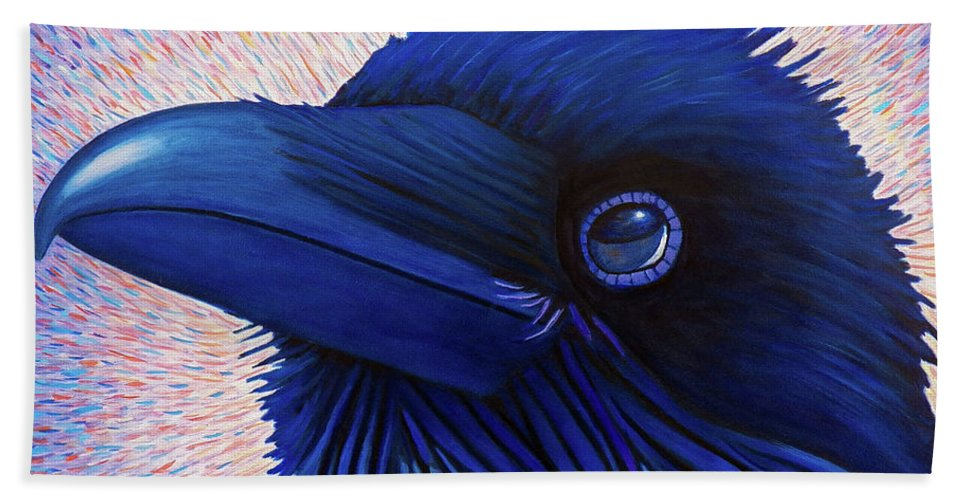 Raven Bath Towel featuring the painting Inspiration by Brian Commerford