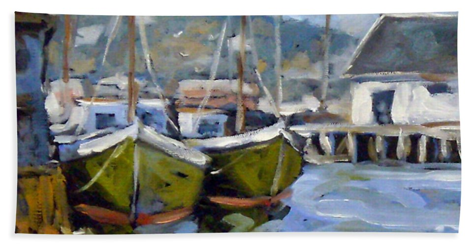 Fishing Boats; Seascape Bath Towel featuring the painting Inspired By E Gruppe by Richard T Pranke
