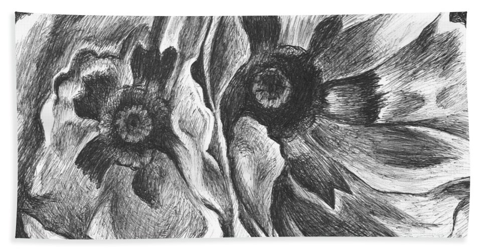Oriental Poppies Hand Towel featuring the drawing Inspired By Georgia by Helena Tiainen