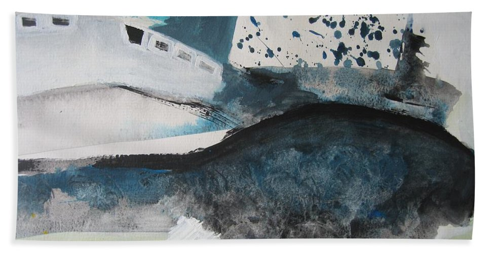 Abstract Paintings Bath Sheet featuring the painting Instead Of Explanation by Seon-Jeong Kim