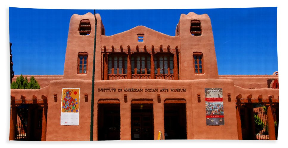 Institute Of American Indian Arts Museum Bath Sheet featuring the painting Institute Of American Indian Arts Museum by David Lee Thompson