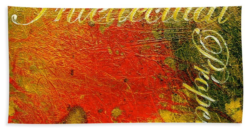 Abstract Art Hand Towel featuring the painting Intellectual Property by Laura Pierre-Louis