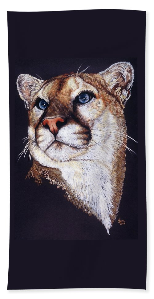 Cougar Bath Towel featuring the drawing Intense by Barbara Keith