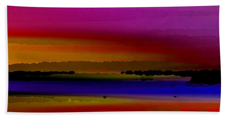 Abstract Hand Towel featuring the digital art Intensely Hued by Ruth Palmer