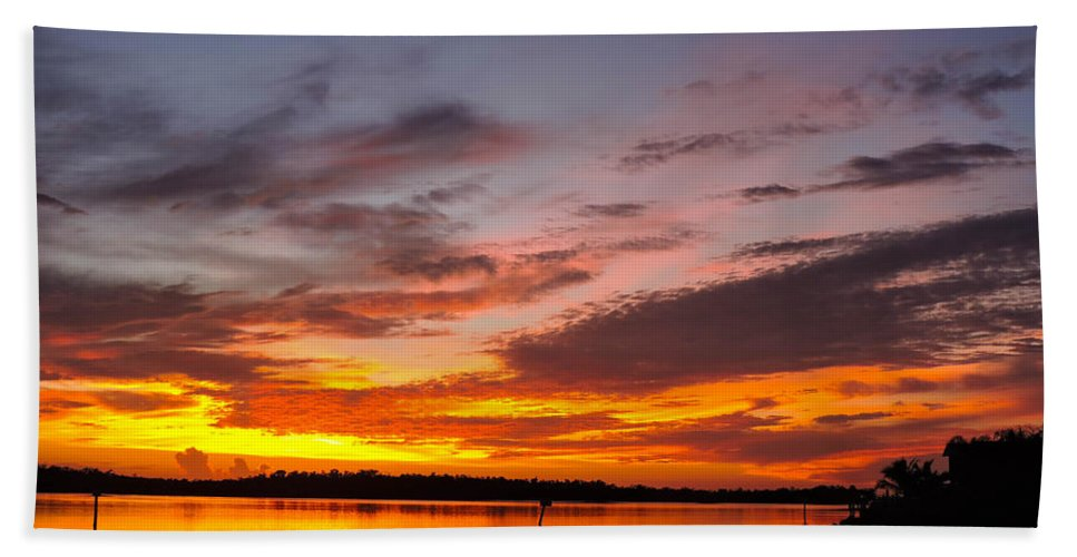 Sunset Bath Sheet featuring the photograph Intensity by Marilee Noland