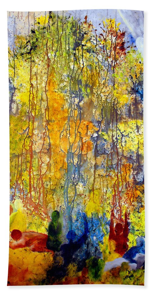 Abstract Hand Towel featuring the painting Intercessory Prayers by Ruth Palmer