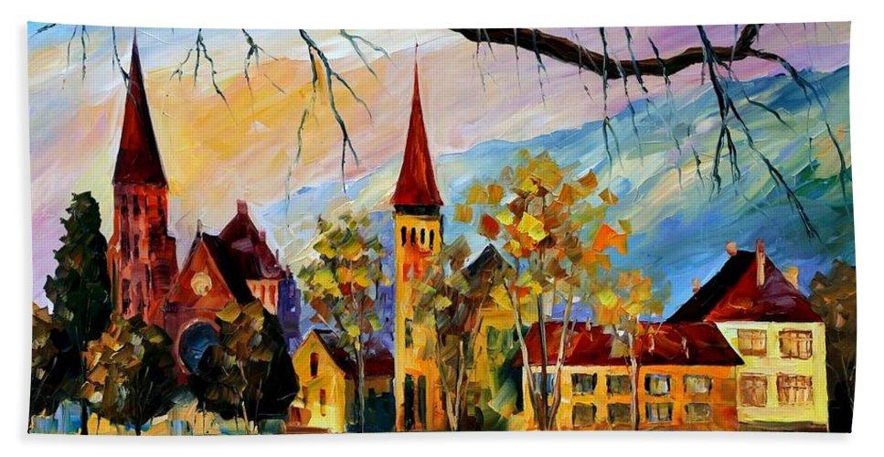 Afremov Hand Towel featuring the painting Interlaken Switzerland by Leonid Afremov