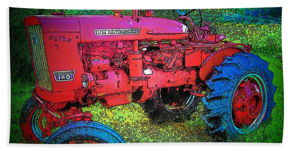 Tractor Bath Sheet featuring the photograph International by Terry Anderson
