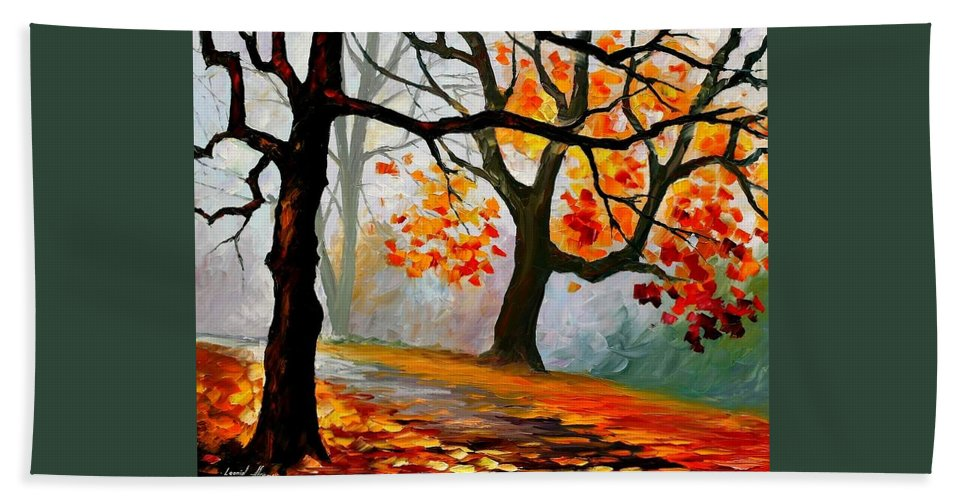 Landscape Hand Towel featuring the painting Interplacement by Leonid Afremov