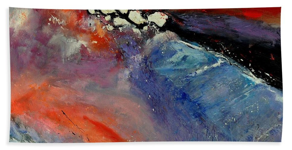 Abstract Bath Sheet featuring the painting Interstellar Overdrive 111110 by Pol Ledent