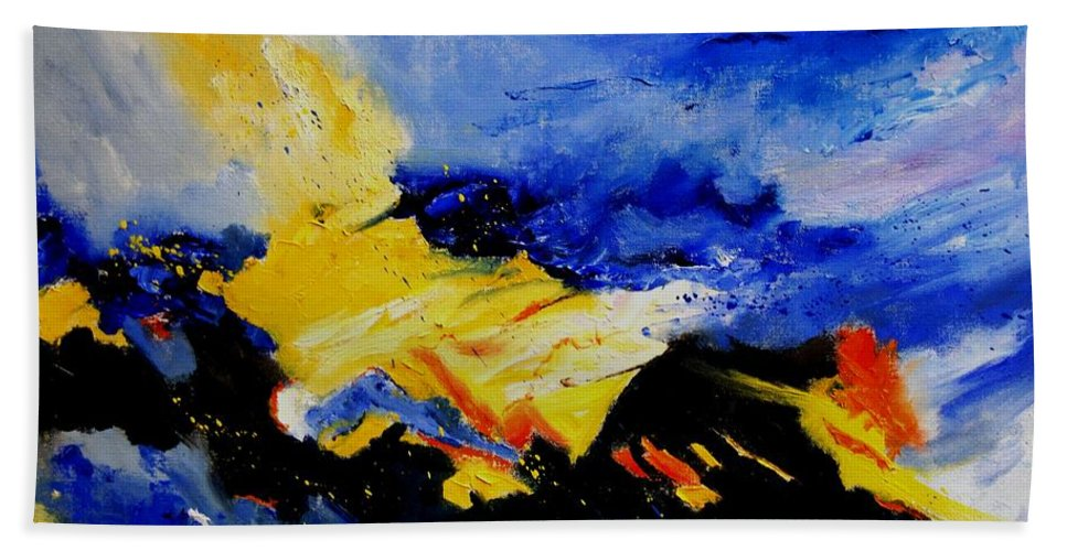 Abstract Hand Towel featuring the painting Interstellar Overdrive 2 by Pol Ledent
