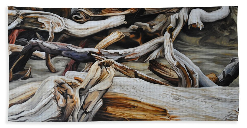 Driftwood Bath Sheet featuring the painting Intertwined by Chris Steinken