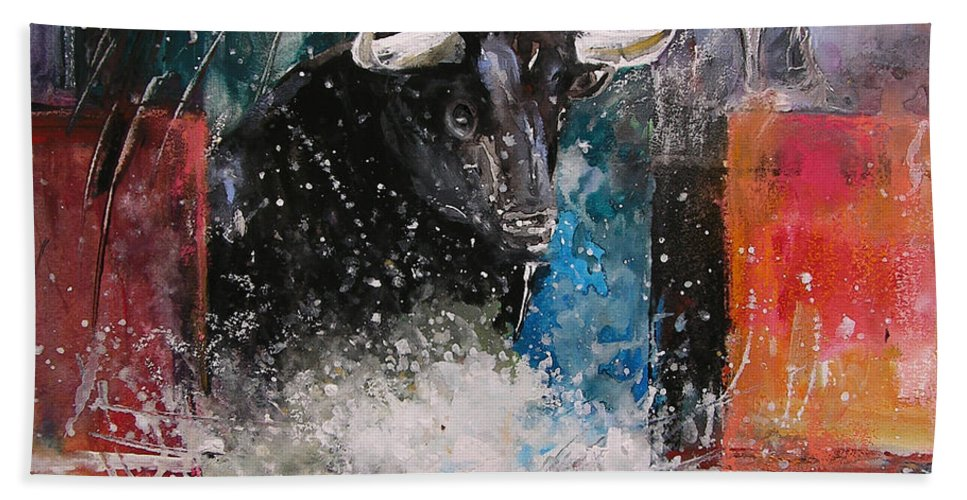 Animals Bath Sheet featuring the painting Into The Arena by Miki De Goodaboom