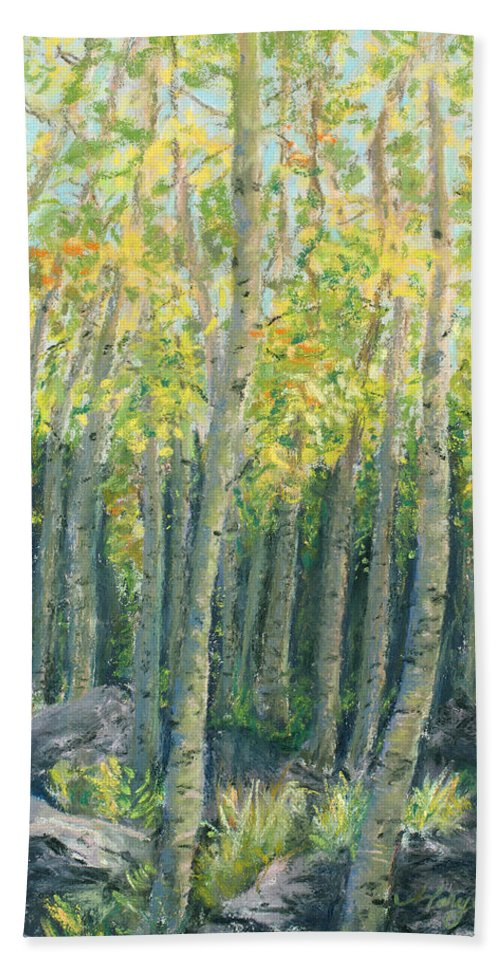 Aspens Hand Towel featuring the painting Into The Aspens by Mary Benke