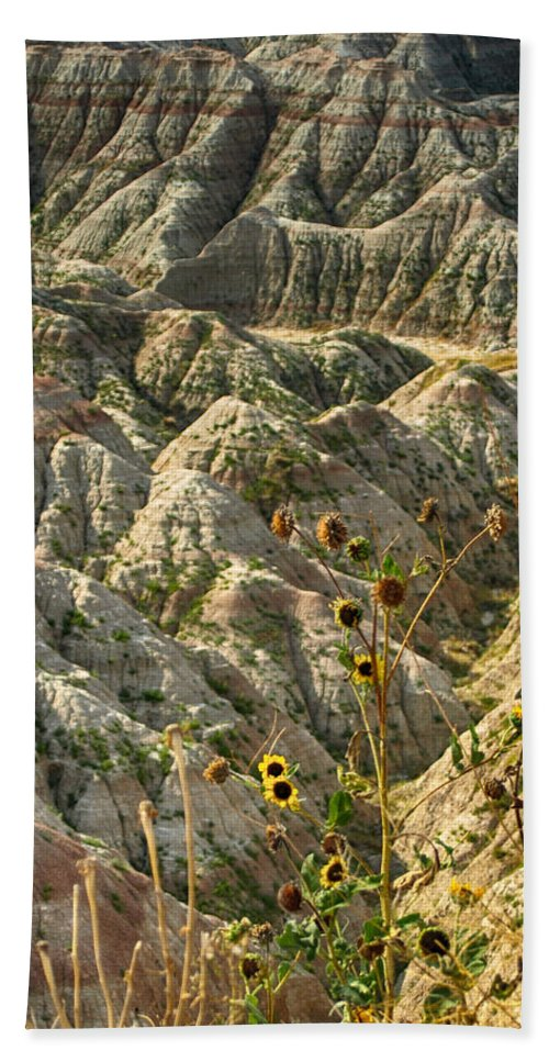Ann Keisling Hand Towel featuring the photograph Into The Badlands South Dakota #3 by Ann Keisling
