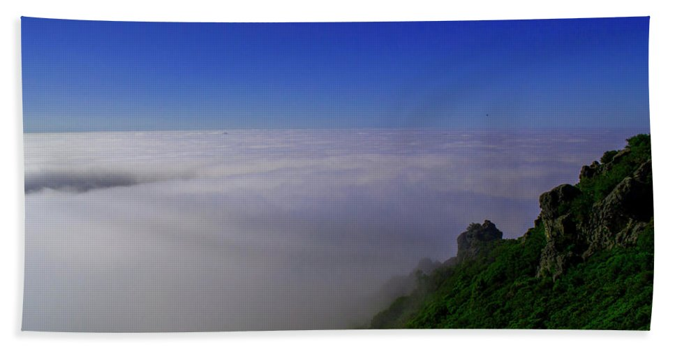 Clouds Bath Sheet featuring the photograph Into The Clouds by Zavia Bishop