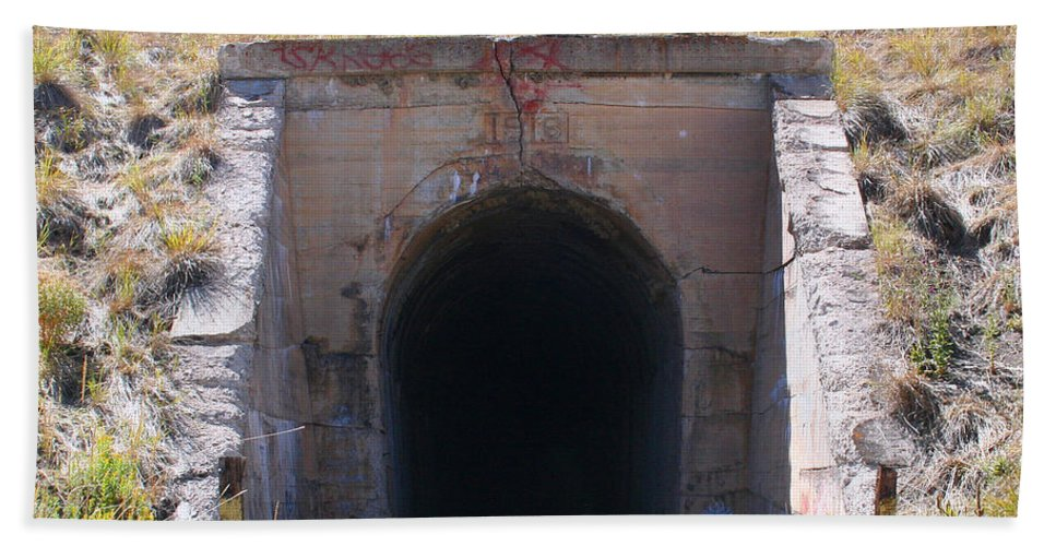 Tunnel Hand Towel featuring the photograph Into The Darkness by Pat Turner