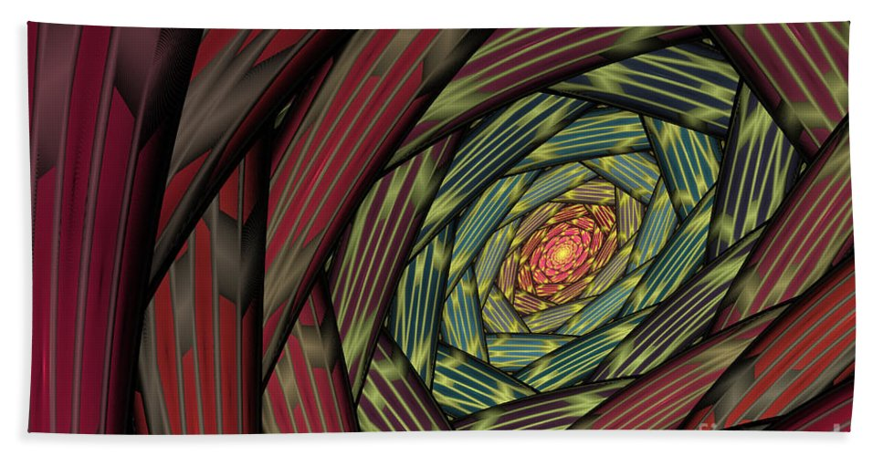 Fractal Bath Towel featuring the digital art Into The Fantasy Tunnel by Deborah Benoit