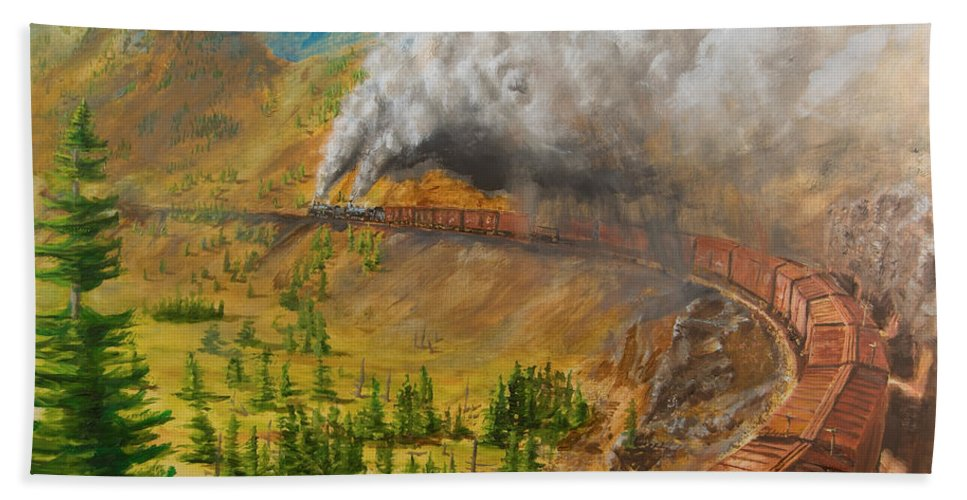 Train Bath Sheet featuring the painting Into the Front Range by Christopher Jenkins