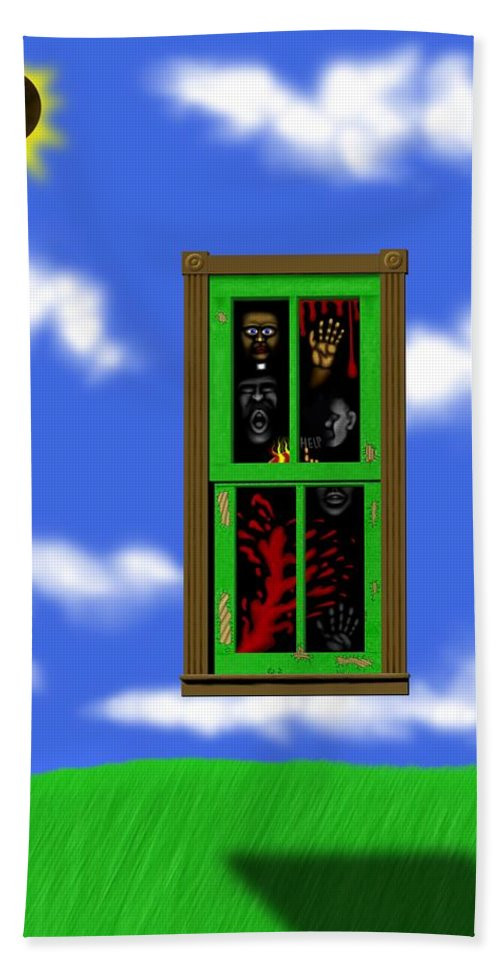 Surrealism Bath Towel featuring the digital art Into The Green Window by Robert Morin