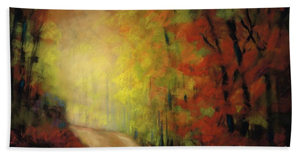 Landscape Bath Towel featuring the painting Into The Light by Frances Marino