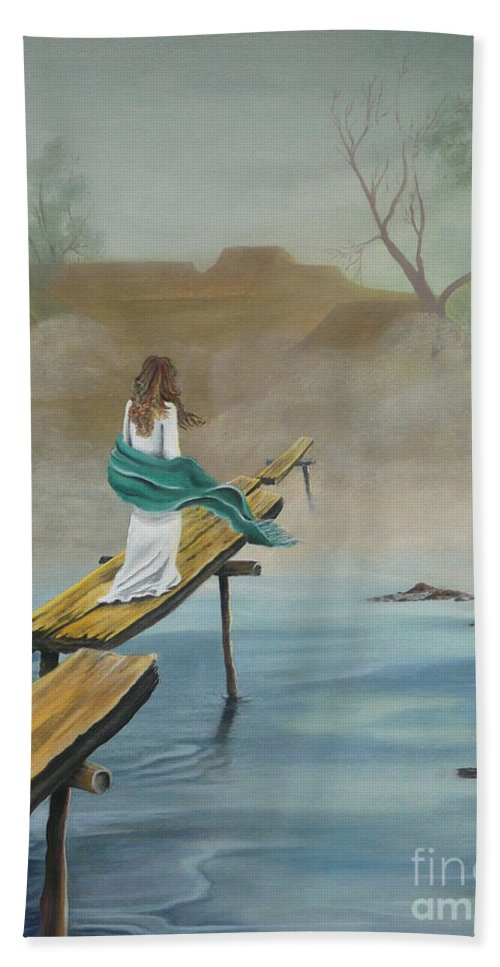 Water Hand Towel featuring the painting Into The Mist by Kris Crollard