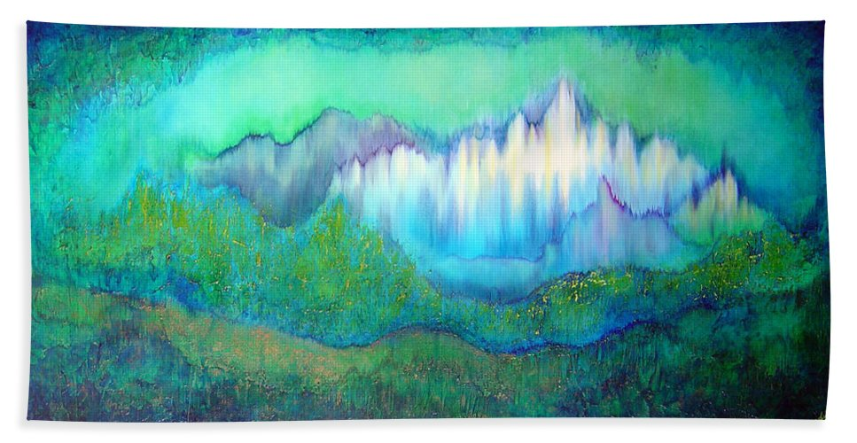 Blue Bath Sheet featuring the painting Into The Ocean by Shadia Derbyshire