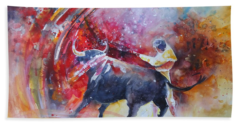 Animals Bath Sheet featuring the painting Into The Red by Miki De Goodaboom