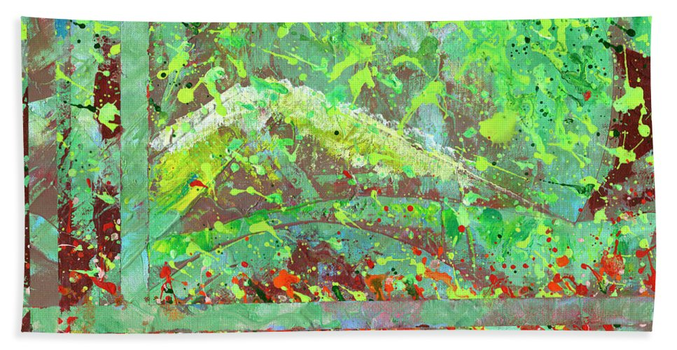 Landscape Hand Towel featuring the painting Into The Woods-through The Looking Glass by Marlene Book