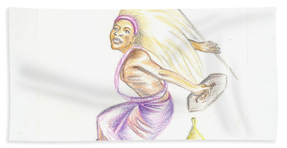 Barry Art Hand Towel featuring the painting Intore Dance 2 From Rwanda by Emmanuel Baliyanga