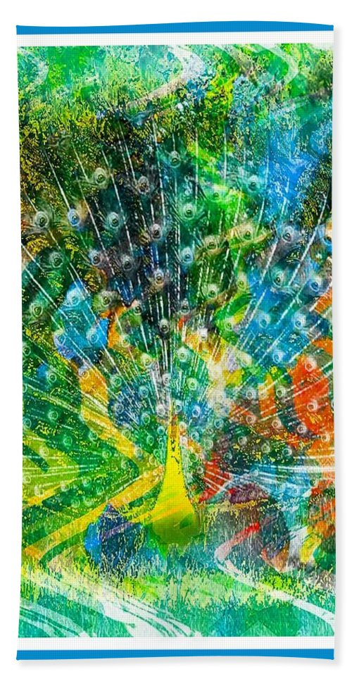 Peacock Bath Sheet featuring the digital art Intoxicating Peacock by Spencer McKain