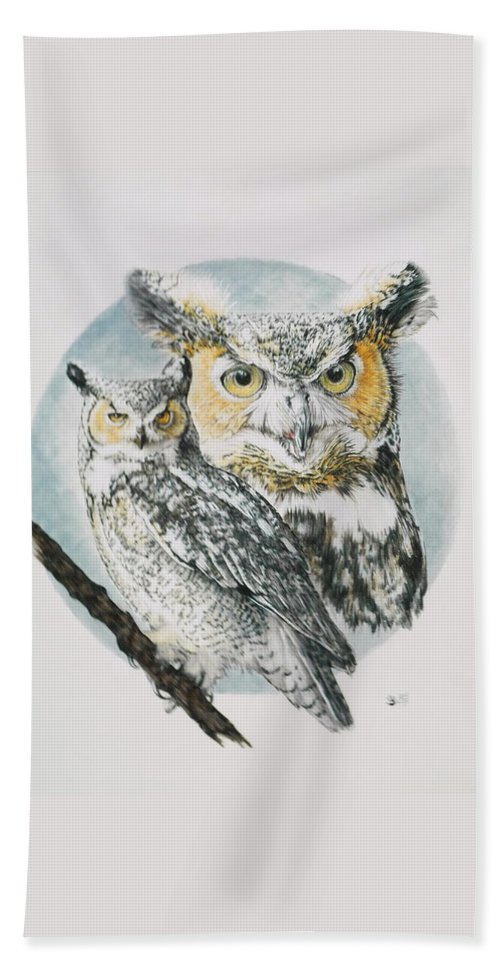 Owl Bath Sheet featuring the mixed media Intrepid by Barbara Keith