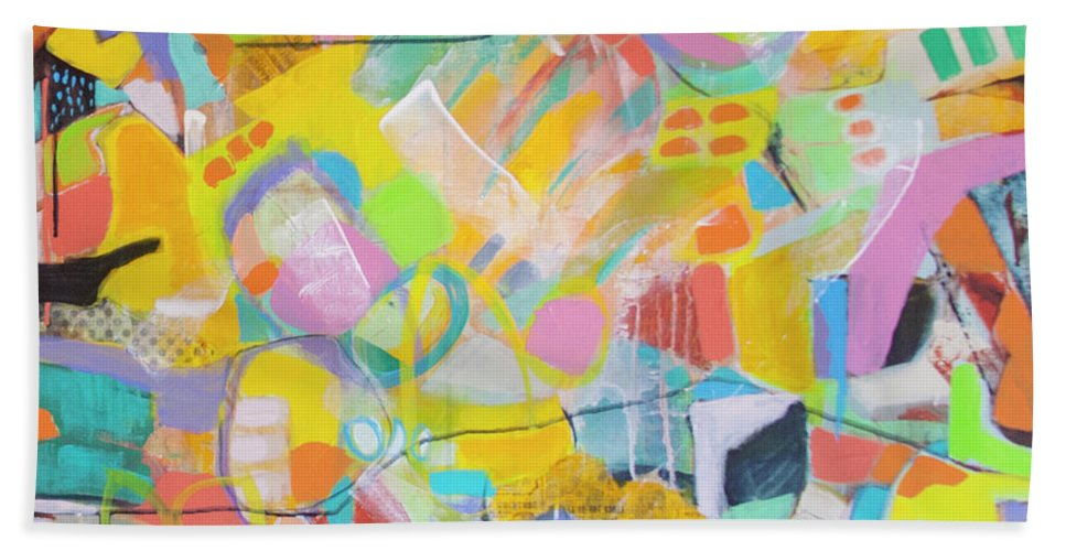 Abstract Hand Towel featuring the painting Intuitive by Florentina Maria Popescu