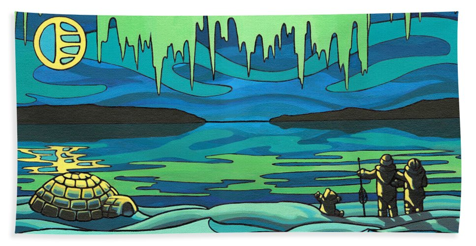 Inuit Hand Towel featuring the painting Inuit Love Arctic Landscape Painting by Kim Hunter