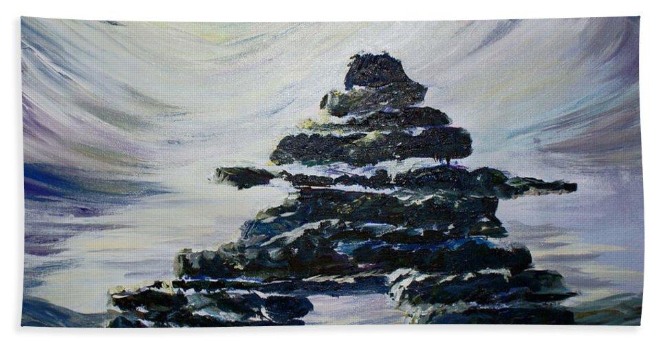 Inukshuk Northern Hemisphere Bath Towel featuring the painting Inukshuk by Joanne Smoley
