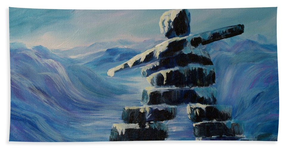 Inukshuk In Northern Canada Hand Towel featuring the painting Inukshuk My Northern Compass by Joanne Smoley