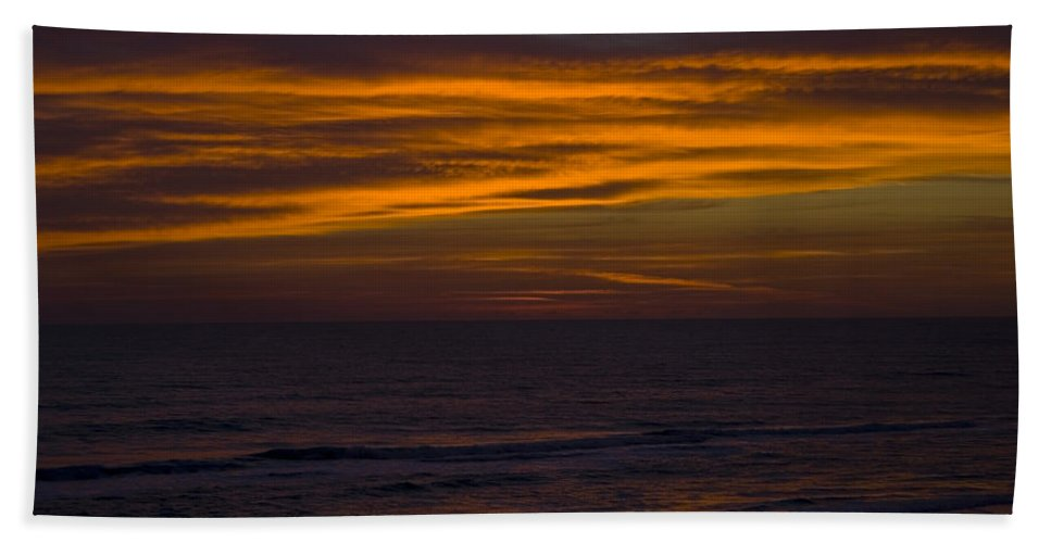 Beach Ocean Water Wave Waves Sky Cloud Clouds Sunrise Gold Golden Reflection Sand Hand Towel featuring the photograph Invisible Presence by Andrei Shliakhau