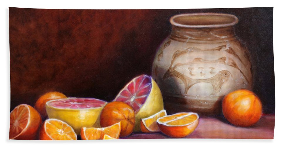 Still Life Paintings Bath Sheet featuring the painting Iranian Still Life by Portraits By NC
