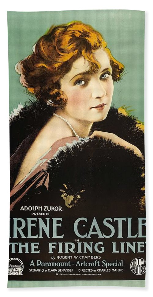 Movie Bath Sheet featuring the drawing Irene Castle In The Firing Line 1919 by Mountain Dreams