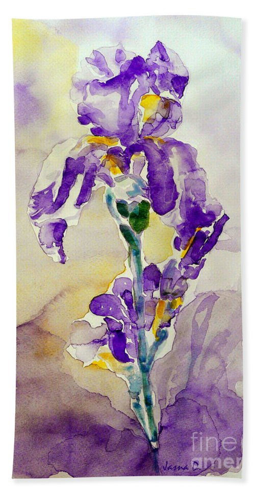 Flower Hand Towel featuring the painting Iris 2 by Jasna Dragun