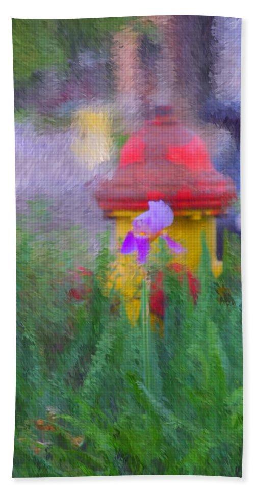Digital Photo Bath Sheet featuring the photograph Iris And Fire Plug by David Lane