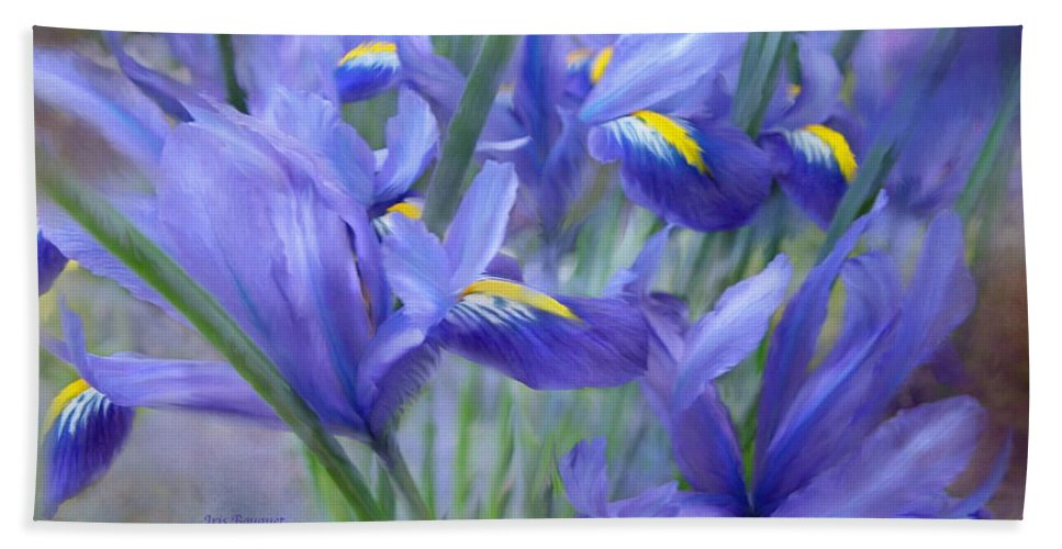 Iris Bath Towel featuring the mixed media Iris Bouquet by Carol Cavalaris