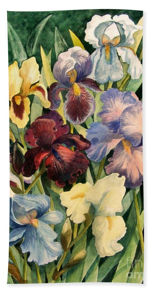 Flowers Bath Sheet featuring the painting Iris Collection by Marilyn Smith