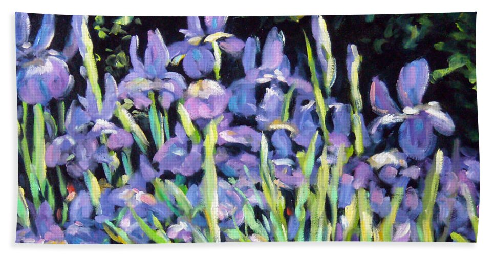 Art Bath Towel featuring the painting Iris En Folie by Richard T Pranke